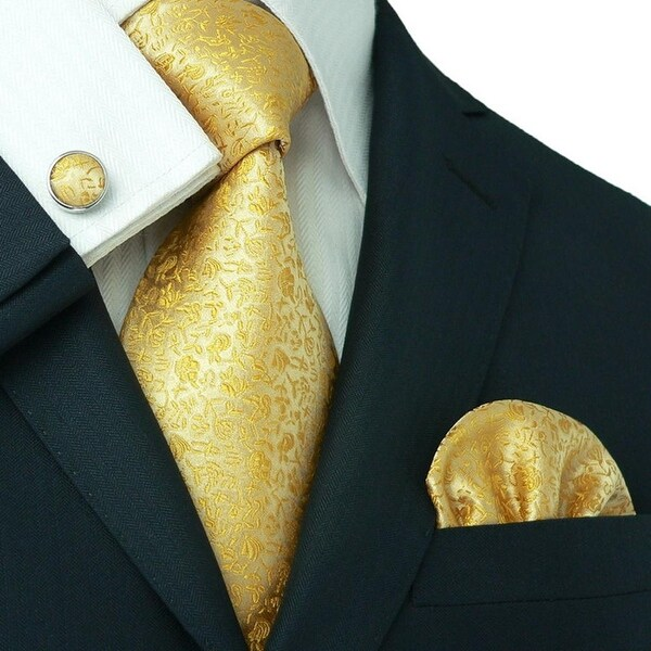 TheDapperTie - Men's Golden Yellow Floral 100% Silk Neck Tie Set 28C