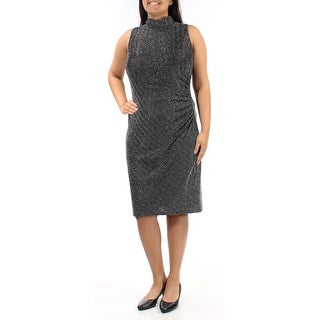 Womens Black Sleeveless Below The Knee Sheath Party Dress Size: 14