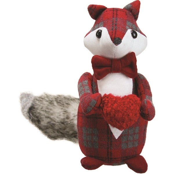 "11"" Plush Red Plaid Fox Holding a Heart Decorative Christmas Tabletop Figure"