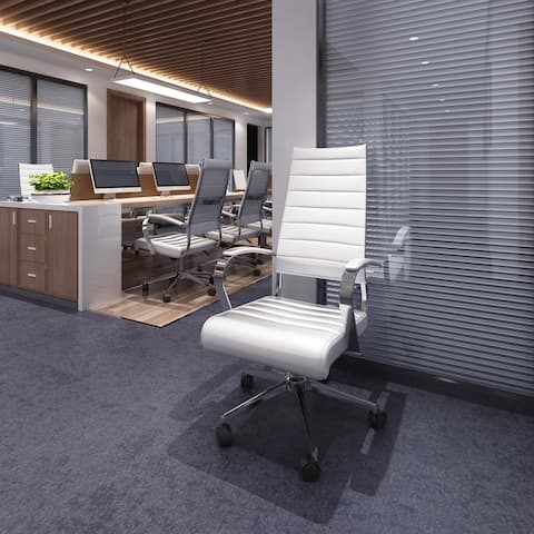 Modern White High Back Office Chair Ribbed PU Leather Manager Tilt Conference Room Computer Desk Boss Task Executive Boss