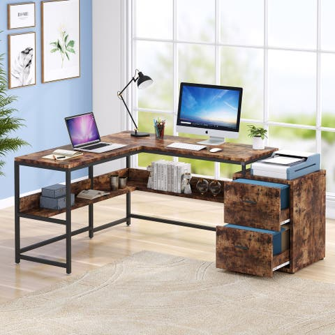 Tribesigns Rustic L-shaped Desk with 2 Drawers file cabinet and Storage Shelf
