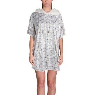 Kensie Womens Sleep Shirt Printed Hooded