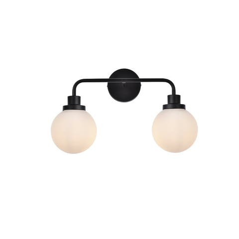 Hudson 2 Light Bath Sconce with Frosted Shade