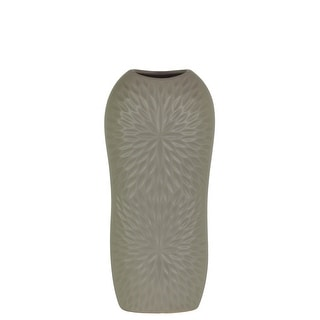 Ceramic Tall Engraved Leaf Design Half-Circle Vase, Small, Gray