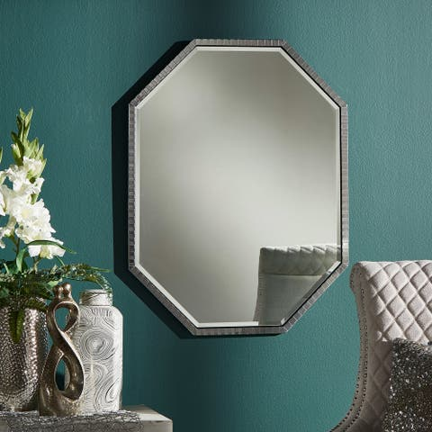 Schnee Shiny Metal Octagon Wall Mirror by iNSPIRE Q Bold