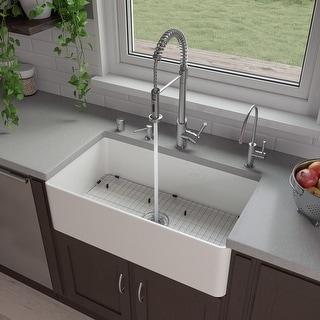 "ALFI brand ABF3318S 33"" White Thin Wall Single Bowl Smooth Apron Fireclay Kitchen Farm Sink"