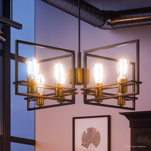 "Luxury Minimalist Chandelier, 10""H x 29.75""W, with Multi-Tone Style, Parisian Bronze Finish by Urban Ambiance - 29"