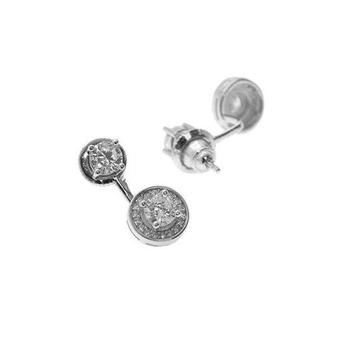 925 Sterling Silver Double Center Stone Earjacket with Cubic Zirconia
