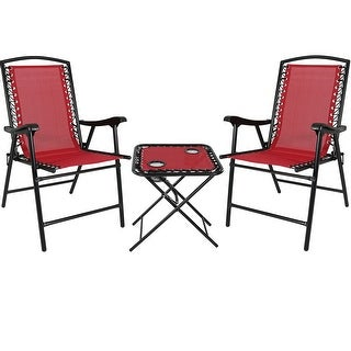 Sunnydaze Set of 2 - Red Outdoor Suspension Folding Patio Chairs with Table