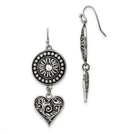 Silvertone Heart and Lock with Pink Crystals Earrings