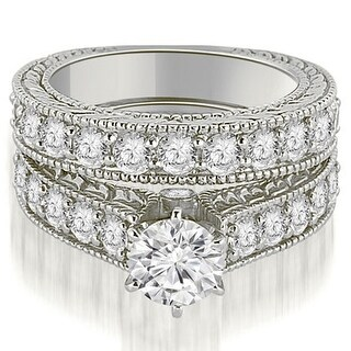 2.50 CT.TW Antique Cathedral Round Cut Diamond Engagement Set - White H-I (More options available)