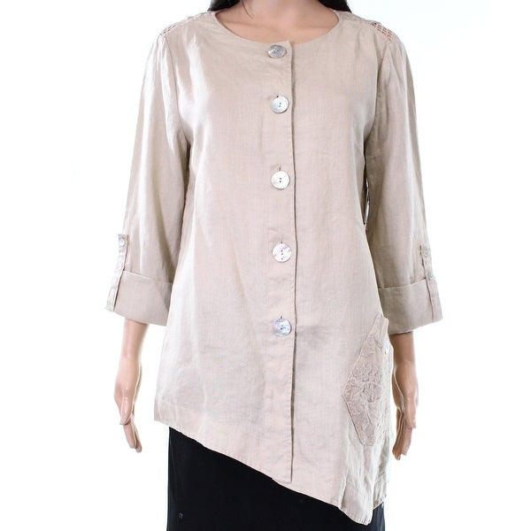 e9704a37fc4 JOHN MARK NEW Beige Women's Size Small S Button Down Tunic Blouse - Free  Shipping On Orders Over $45 - Overstock - 26300411