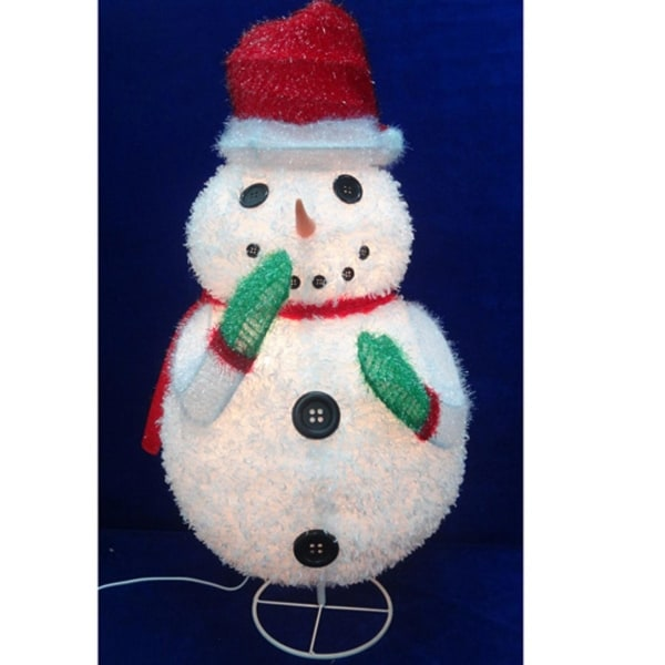"24"" Pre-Lit Outdoor Chenille Snowman Wearing Santa Hat Christmas Outdoor Decoration - WHITE"