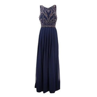 Xscape Women's Bead Embellished Pleated Chiffon Dress - navy/bronze|https://ak1.ostkcdn.com/images/products/is/images/direct/149b58e4e2fba65ed4c210b0fb3eb4ad9c21bd80/Xscape-Women%27s-Bead-Embellished-Pleated-Chiffon-Dress.jpg?impolicy=medium