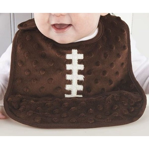 Brown Football Team Spirit Crumb Catcher Pocket Baby Toddler Bib