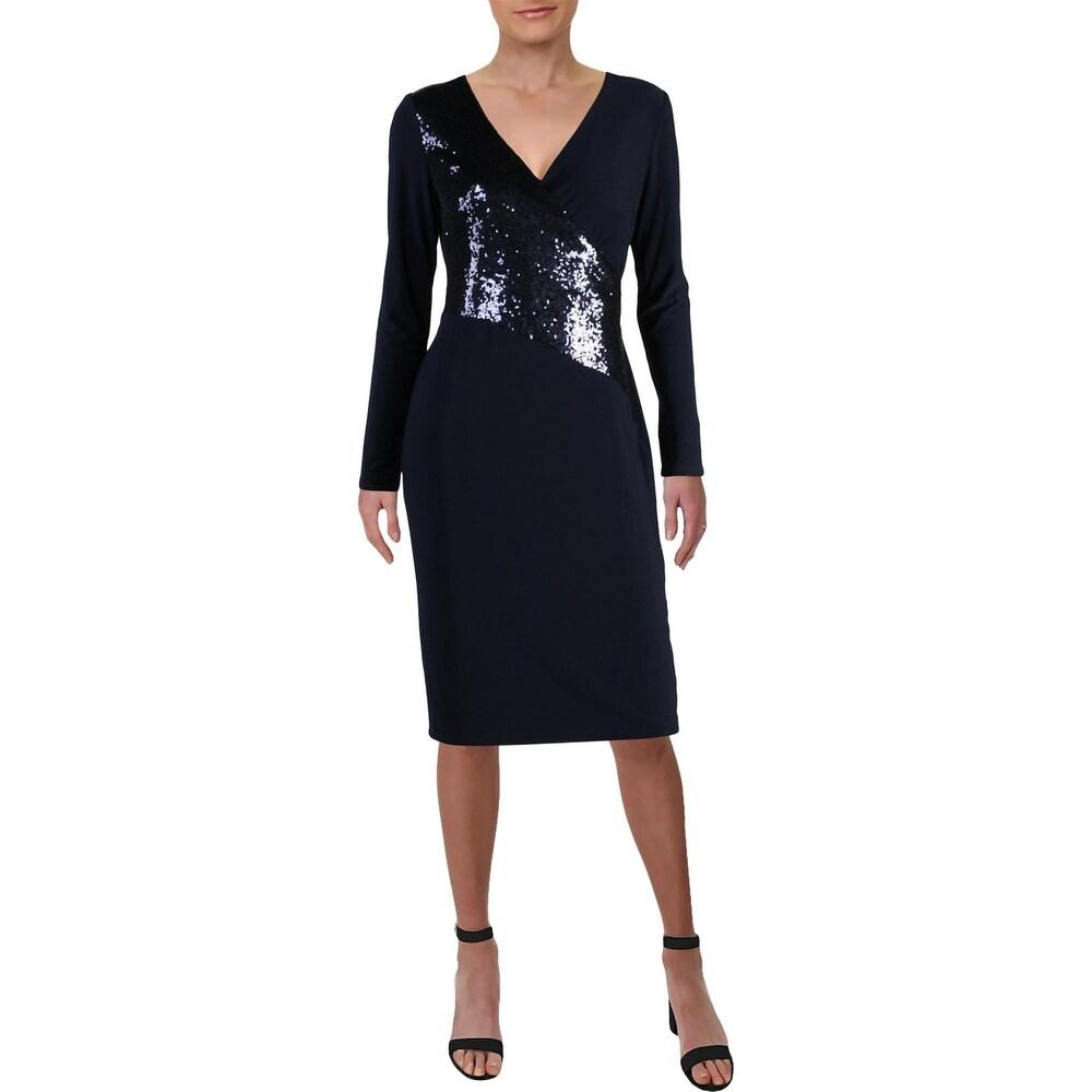 Lauren Ralph Lauren Womens Jodi Sheath Dress Sequined Cocktail