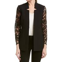 Tahari by ASL Black Womens Size 14 Open Front Lace Sleeve Jacket