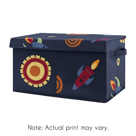 Space Galaxy Planets Collection Boy Kids Fabric Toy Bin Storage - Navy Blue Star and Moon Rocket Ship