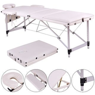 Costway White Portable Massage Table Aluminum Facial SPA Bed Tattoo w/Free Carry Case