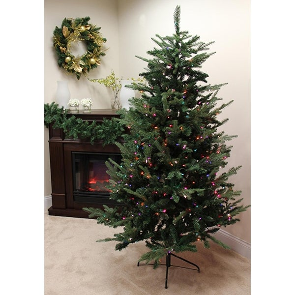 9' Pre-Lit Grantwood Pine Artificial Christmas Tree - Multi Lights - green