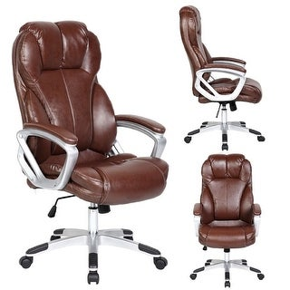 2xhome Brown Leather Ergonomic High Back Executive Office Chair Desk Boss Manager Tilt Work Professional