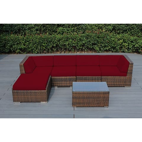 Ohana Outdoor Patio 6 Piece Mixed Brown Wicker Conversation Set with Cushions