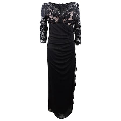 Betsy & Adam Women's Ruffled Lace Gown - Black/Nude
