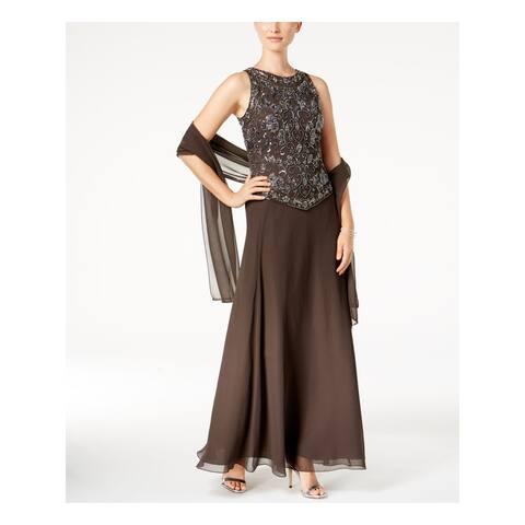 JKARA Womens Gray Beaded Gown And Scarf Sleeveless Jewel Neck Maxi Evening Dress Size: 6