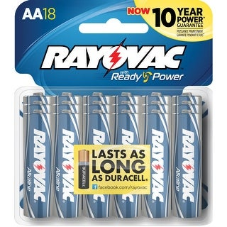 Rayovac Reclosable Carded AA Alkaline Batteries, Pack of 18