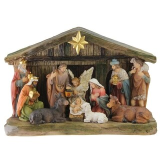 """9.5"""" Nativity Scene Christmas Tabletop Decoration with Color Changing LED Light"""