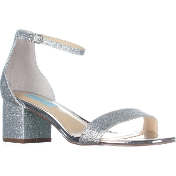 Blue Betsey Johnson Miri Ankle Strap Evening Sandals, Silver Glitter