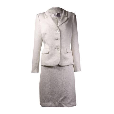 Le Suit Women's Notched Lapels Jacquard Skirt Suit