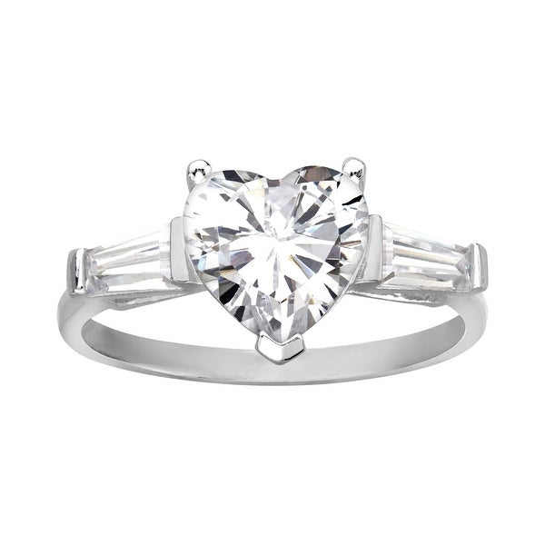 Three Stone Heart Ring with Cubic Zirconia in Sterling Silver - White