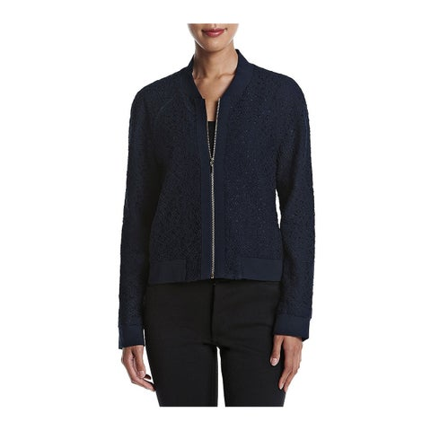 Tahari by ASL Blue Womens Size 12 Corded Lace Zip-Up Bomber Jacket