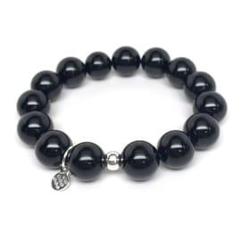 Black Onyx 'Classic Stone' stretch bracelet Sterling Silver