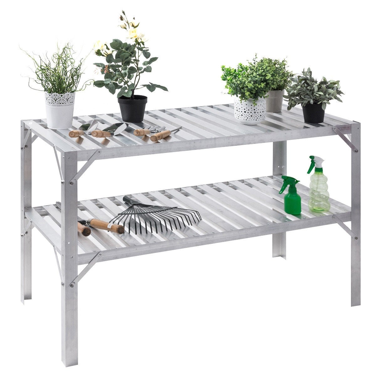 New Potting Table Wooden Plant Bench Lightweight Flower Staging Bench Greenhouse