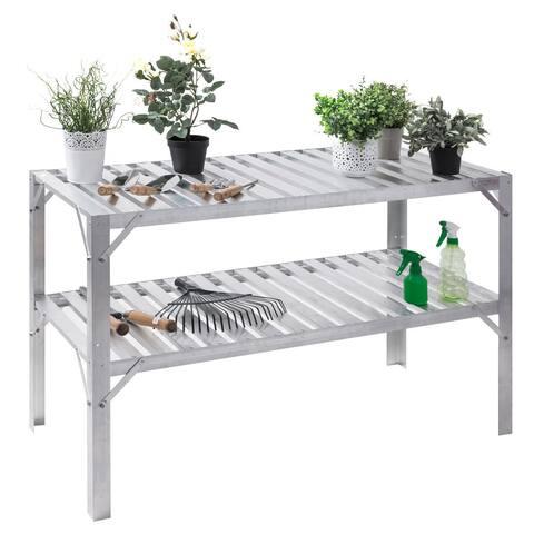 Costway Aluminum Workbench Greenhouse Prepare Work Potting Table Storage Garage Shelves - Sliver