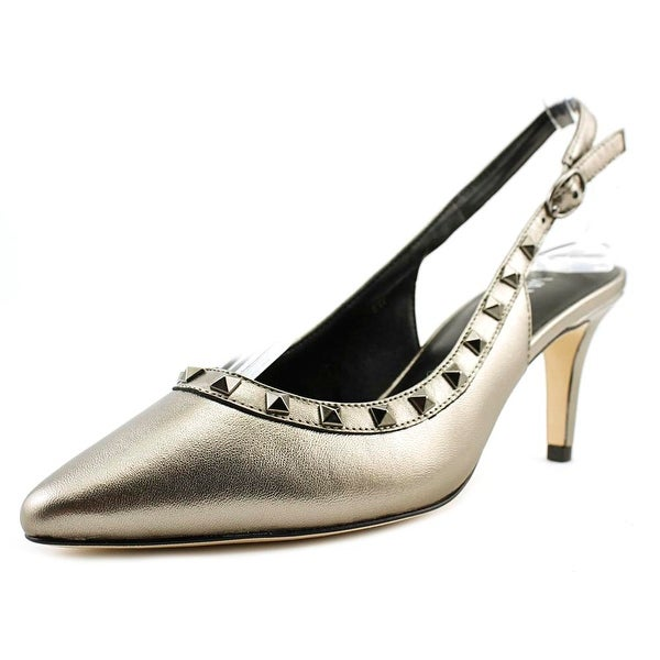 Vaneli Harriet Women W Pointed Toe Leather Silver Slingback Heel