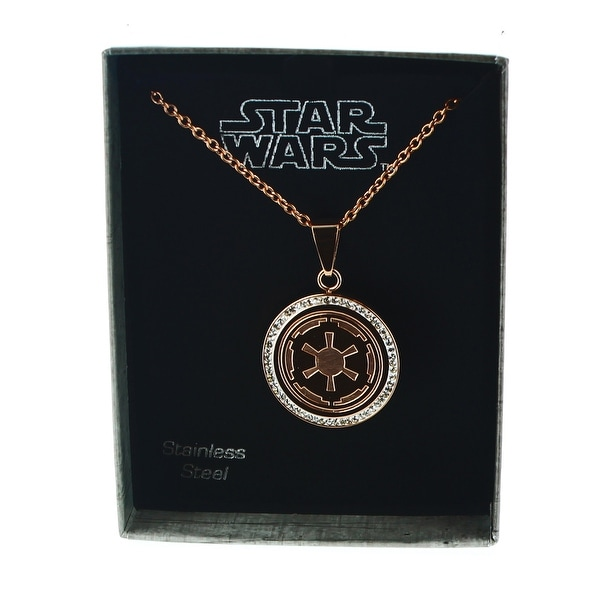 Star Wars Rose Gold PVD Plated Galactic Empire Symbol Pendant - multi