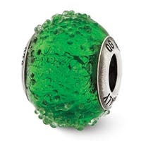 Italian Sterling Silver Reflections Green Textured  Glass Bead (4mm Diameter Hole)