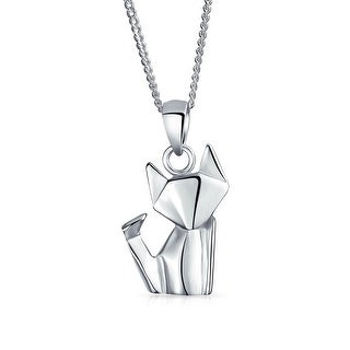 Bling Jewelry .925 Silver Origami Cat Animal Pendant Necklace 16 In