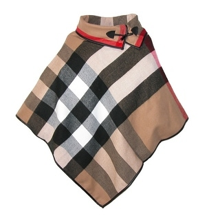 CTM® Women's Collared Neck Plaid Shawl Wrap - Red - One size