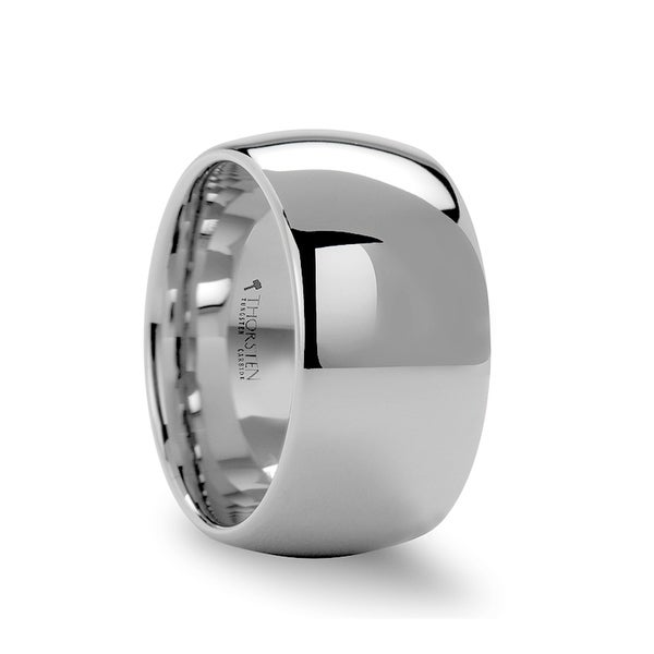 THORSTEN - ATHERTON 12mm Domed Wide White Tungsten Wedding Band for Men