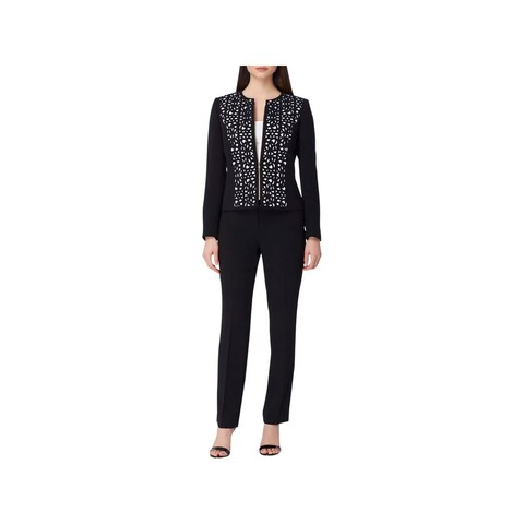 Tahari ASL Womens Petites Pant Suit Laser Cut Business