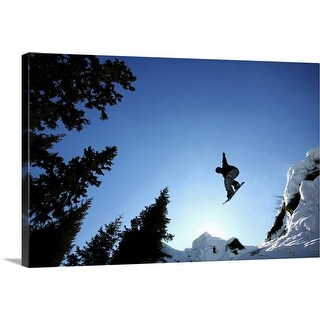 """""""Low angle view of a person snowboarding"""" Canvas Wall Art"""