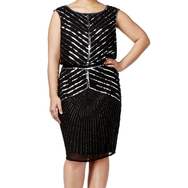 Adrianna Papell NEW Black Sequin Women's Size 16W Plus Blouson Dress