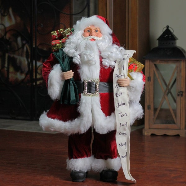 3' Standing Santa Claus with Naughty or Nice List and Bag of Presents Christmas Figure - RED