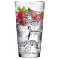 Palais Glassware Striped Collection; High Quality Striped Clear Glass Set of 4
