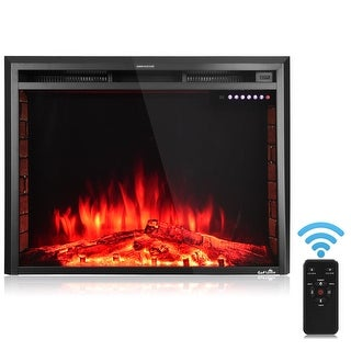 GoFlame 36'' 750W-1500W Fireplace Heater Electric Embedded Insert Timer Flame Remote - Black