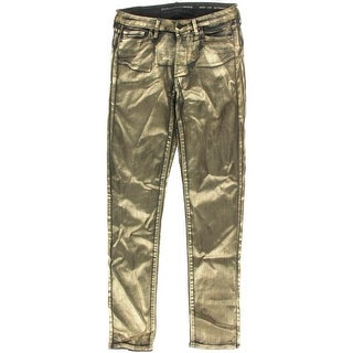 Calvin Klein Jeans Womens Metallic Coated Colored Skinny Jeans